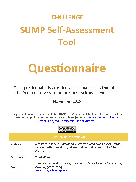 SUMP Self-Assessment Questionnaire